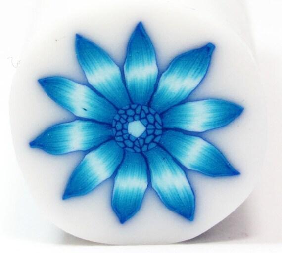 Polymer clay cane Blue millefiori Gerbera