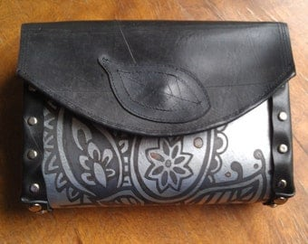 Etched metal purse with recycled inner tube gussets and flap-Silver and black paisley design
