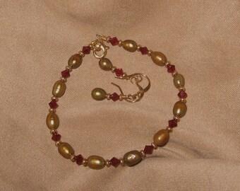"Swarovski ""Ruby"" Crystal and Golden Freshwater Pearl Bracelet Set"
