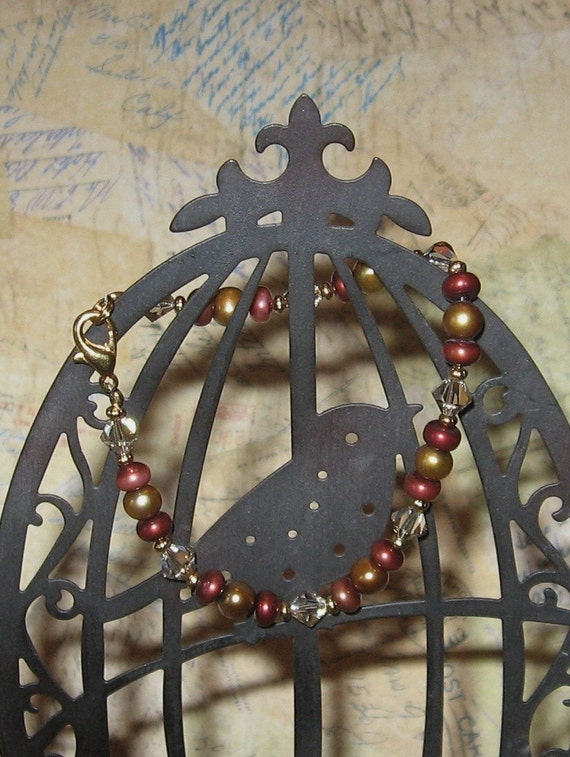 """SALE!!!  Freshwater """"Garnet and Gold""""  Pearl and Crystal Bracelet"""