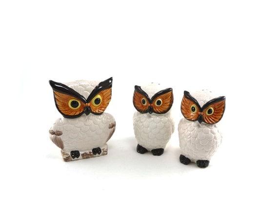 Owls galore - vintage owl napkin holder and shaker set