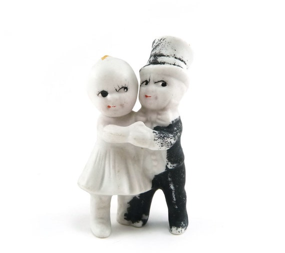 Antique bisque wedding cake topper - 1920s Kewpie huggers bride and groom