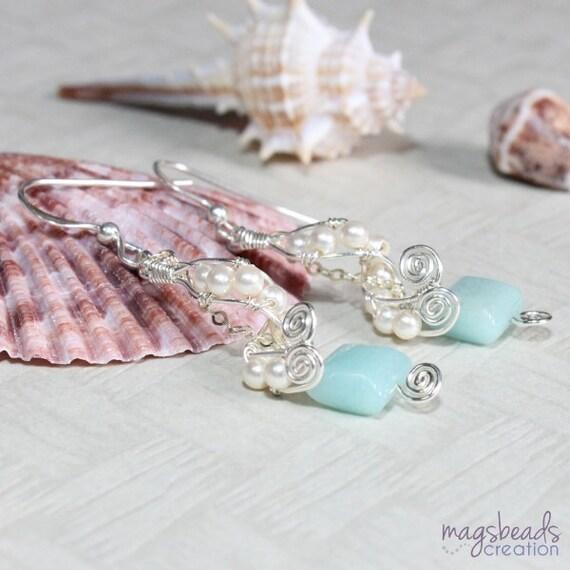Wire Wrap Earrings, Swirls Earrings, Swarovski Pearls Earrings, Blue Green Gemstone, Seafoam Earrings, Handcrafted Artisan Jewelry