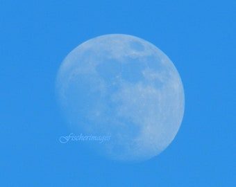 Blue Sky White Moon Digital Download Wall Art Decor Fine Art Photography