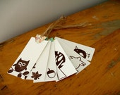 Fun Woodland Creatures gift tags - brown, autumn, thanksgiving