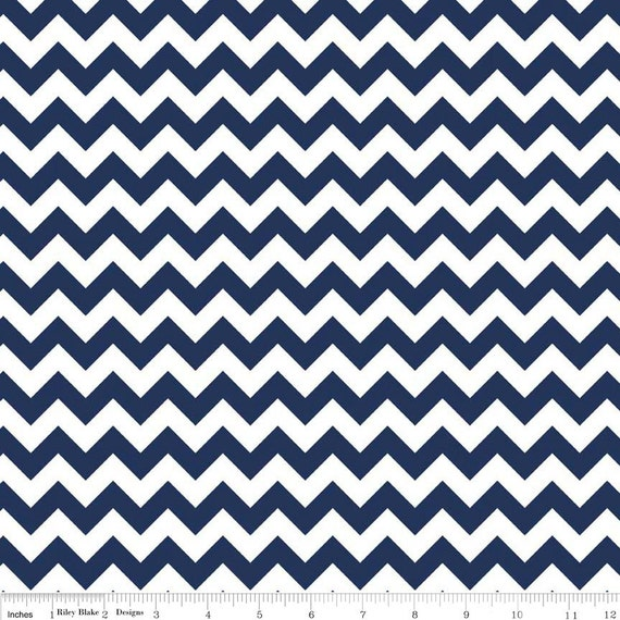 Riley Blake Fabric - 1 Yard of Small Chevron in Navy