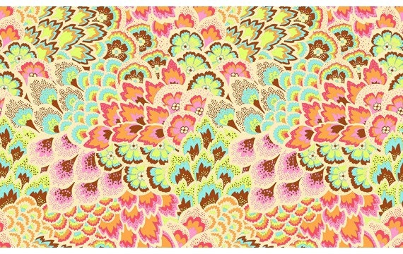 Amy Butler Soul Blossoms Fabric - 1 Yard Peacock Feathers in Blush