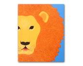 Lion Print for nursery. Safari artwork, baby jungle animal art, child zoo decor animal for kids rooms and animal nursery in blue and orange
