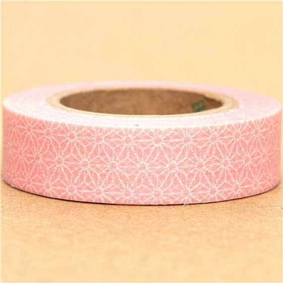 Light Pink Japanese Washi Paper Masking Tape Roll Adhesive Stickers with white flower embellishment WT70