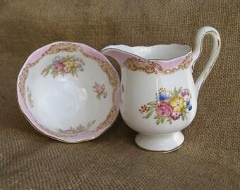 Vintage Pink Royal Albert England Sugar Creamer Set