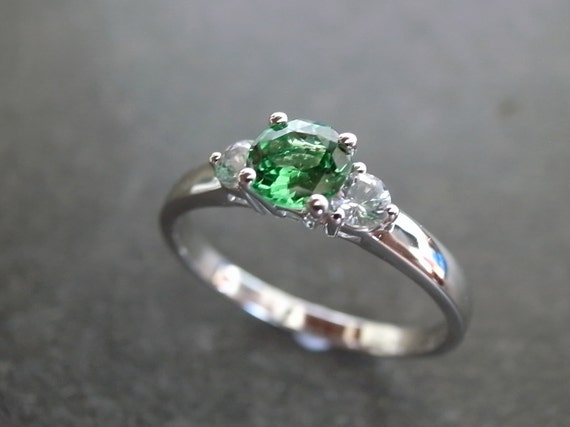Green Garnet and White Sapphire Engagement Ring in 14K White Gold