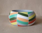 NEW  The deconstructed chevron in pastel colours handpainted wooden bracelet