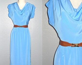 Vintage dress SKY BLUE sleeveless cowl neck - S