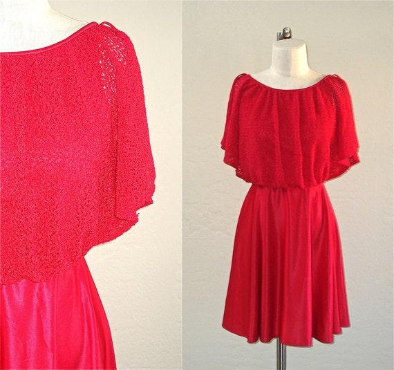 SALE - Vintage 70s dress raspberry PINK PARTY disco mini - S