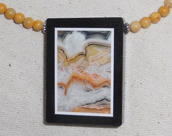 """Yellow and black jasper intarsia necklace 20"""" long with brown gray lace agate bead pietra dura semiprecious stone jewelry 534"""