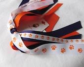 Clemson - Orange White Purple and Tiger Paw Ponytail Streamer
