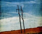 Mixed Media Photo of Hydro Poles on Prairie Field - Fine Art Photo Entitled Off-Kilter -  8 X 10