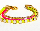 Neon Bracelet  Hot Pink and Neon Yellow with Brilliant Austrian Crystal Rhinestones