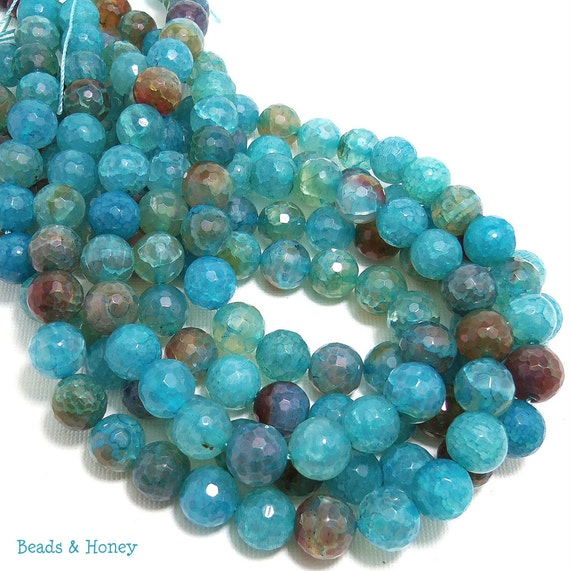 Agate, Fired, Aqua Blue, Round, Faceted, 10mm, Small, Gemstone Beads, Half Strand, 18pcs - ID 412-3