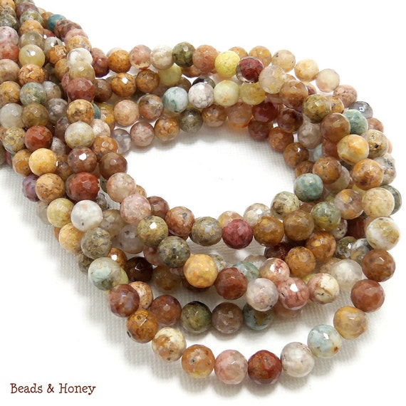 Snakeskin Agate Beads, Brown/Multi Colored, Round, Faceted, 6mm, Small, Natural Gemstone Beads, Full Strand, 65pcs - ID 1102