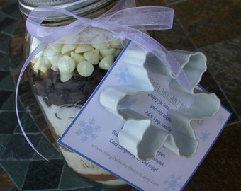 Snowflake Art Brownies  - Gourmet Mix in a Ball Mason Jar - Disney Frozen Favor - Gift for Teacher or Coach - Cooking Party Favors -Man Gift