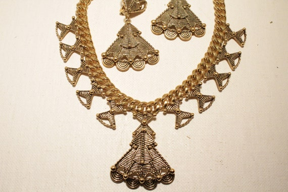 SALE Vintage 1980s Mayan Eqyptian Necklace & Earrings Set Jose Maria Barrera for Avon