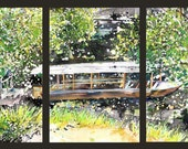 Triptych no.9, Japan, original watercolor and sumi-ink