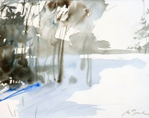 New England winter-Scape No.72, limited edition of 50 fine art giclee prints from my original watercolor