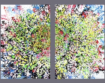 Diptych No.18 flowers, limited edition of 50 fine art giclee print from my original Japanese watercolor and sumi-ink