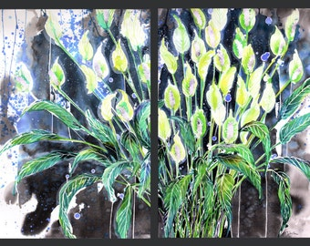 Diptych No.20 flower, limited edition of 50 fine art giclee prints from my original paintings