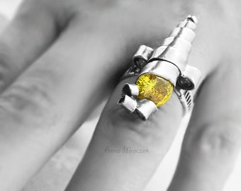 ENGAGEMENT RING, lemon zircon, cubic zircon, wire-wrapping, swirl, yellow, sterling silver, fine silver. OOAK