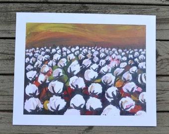 Louisiana Cotton Field print, 11 x 14 art print of original oil painting