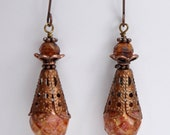 Antique Rose - Copper - Beaded - Dangle - Earrings