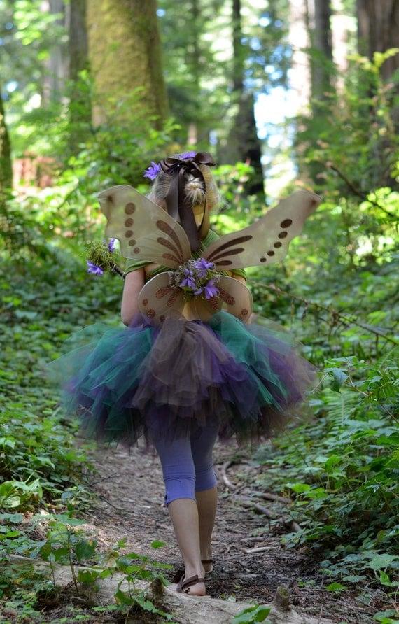 Woodland Fairy Costume - SEWN tutu set - tutu, halo, wand & woodland fairy wings