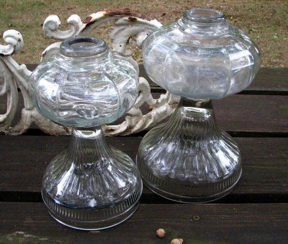 heavy leaded glass -- antique hurricane lamp base