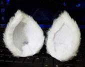 White or Black Short Fuzzy Cat Ear Clips