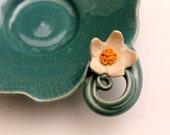 Lotus Flower and Lily Pad Blue Pottery Bowl