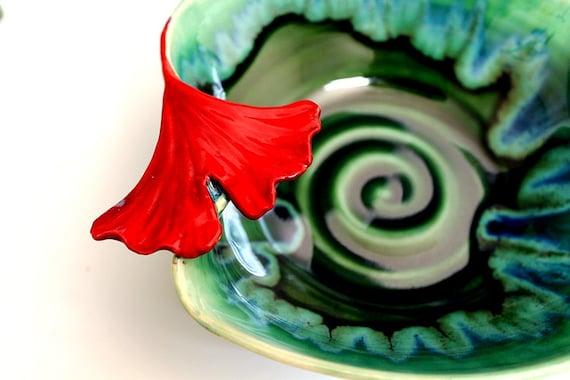 Red Ginkgo Leaf Handmade Stoneware Studio Pottery Bowl Emerald Green
