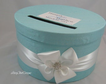 Aqua Wedding Card Box / Money Card Box / Envelope Holder / Party Card Box / Birthday Card Box / Box for Cards / Wedding Gift Box / Custom