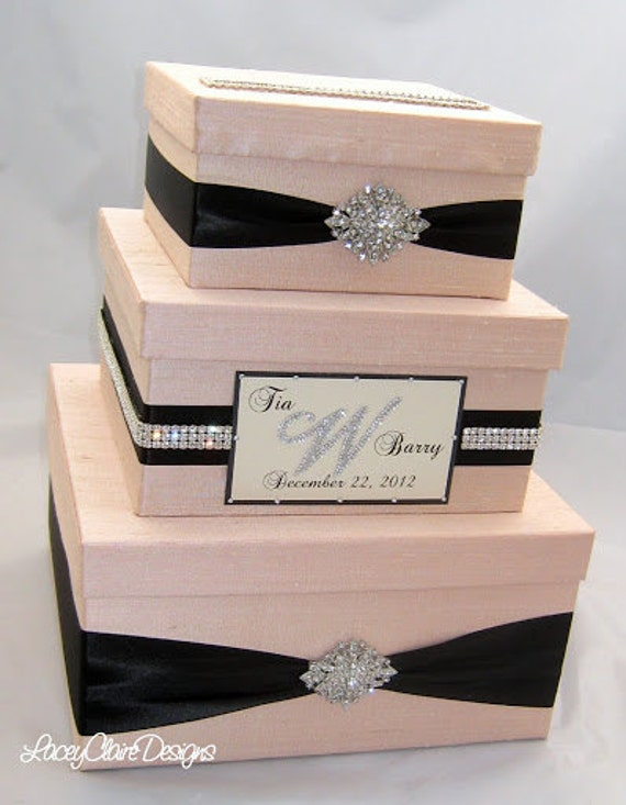 wedding gift box bling card box blush pink wedding box With gift card boxes for weddings