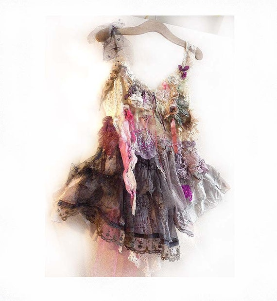 Reserved for Rosy Last Payment  Beautiful Rich Elegant  Dress/Tunic Art to Wear BLACK and White with Pink Hippi Gothic Boho  Ruffle Gipsy