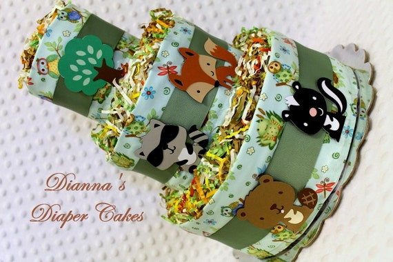 Baby Diaper Cake Woodland Animals Forest Creatures Shower Gift or Centerpiece