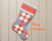 Christmas Stocking, Vintage Quilt, 19th Century 9 Patch Quilt, Patterns in Grey, Turkey Red, Unbleached Muslin, Shabby Chic