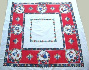 Retro Tablecloth, Printed Colonial Dutch Design, Mid Century, Dutch Couples, Red, Blue, Yellow on White, Excellent Vintage Condition