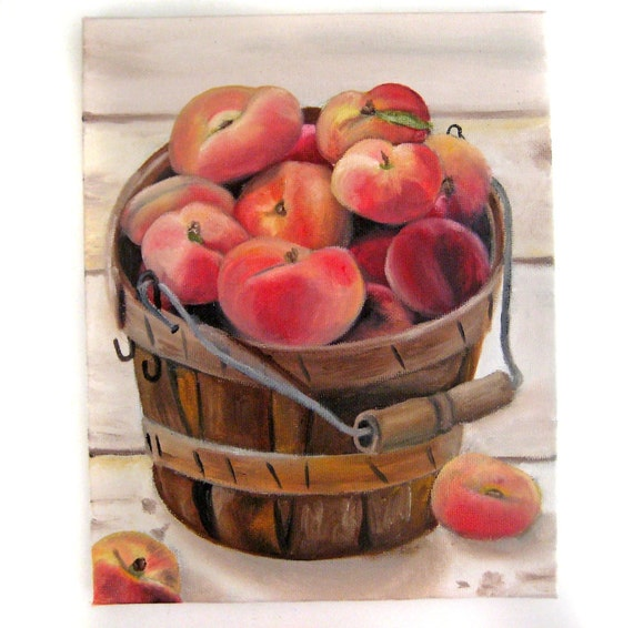 Peach Painting - Peaches in Barrel - Summer Painting Original Rustic Farmhouse Country Art