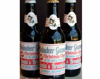 Reindeer Games Glass Bottle Labels by Loralee Lewis