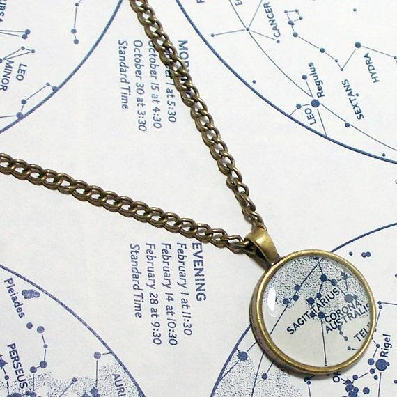 Sagittarius 1972 Star Map Necklace. Zodiac. Map Pendant. Map Jewelry.