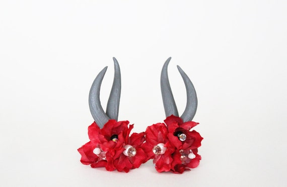 Reserved for Valerie --- Red Flower and Crystal Deer Antler Bobby Pins
