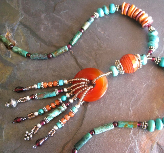 Southwest Spiny Oyster Turquoise Necklace, Southwest Jewelry, Turquoise Jewelry