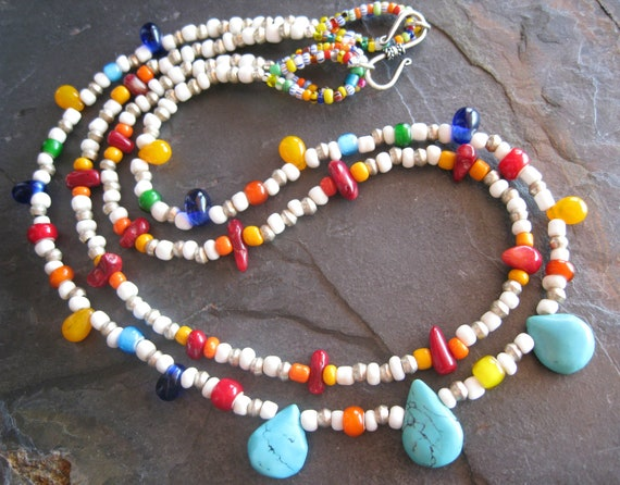 SALE Ethnic African Bead Necklace, Tribal Necklace, Turquoise Necklace, Ethnic Jewelry